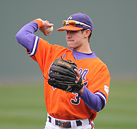Shortstop Tyler Krieger (3) of the Clemson Tigers prior to a game against the South Carolina Gamecocks on Saturday, March 2, 2013, at Fluor Field at the West End in Greenville, South Carolina. Clemson won the Reedy River Rivalry game 6-3. (Tom Priddy/Four Seam Images)