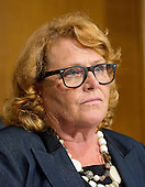 """United States Senator Heidi Heitkamp (Democrat of North Dakota), a member of the U.S. Senate Committee on Banking, Housing and Urban Affairs, listens to testimony from Janet L. Yellen, Chair, Board of Governors of the Federal Reserve System (not pictured), on """"The Semiannual Monetary Policy Report to the Congress."""" on Capitol Hill in Washington, D.C. on Tuesday, July 15, 2014.<br /> Credit: Ron Sachs / CNP"""
