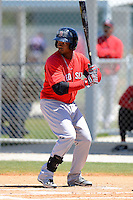 Boston Red Sox outfielder Keury Da La Cruz #46 during a minor league Spring Training game against the Minnesota Twins at JetBlue Park Training Complex on March 27, 2013 in Fort Myers, Florida.  (Mike Janes/Four Seam Images)