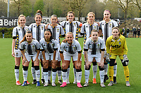 (Top row left to right) Renate-Ly Mehevets (15) of Sporting Charleroi, Madison Hudson (8) of Sporting Charleroi, Alysson Duterne (14) of Sporting Charleroi, Noemie Fourdin (22) of Sporting Charleroi, Ludmila Matavkova (9) of Sporting Charleroi, Estelle Dessilly (13) of Sporting Charleroi (front row left to right) Jeanne Bouchenna (17) of Sporting Charleroi, Jessica Silva Valdebenito (18) of Sporting Charleroi, Megane Vos (20) of Sporting Charleroi, Chrystal Lermusiaux (2) of Sporting Charleroi and goalkeeper Ambre Collet (1) of Sporting Charleroi pose for the team photo before a female soccer game between Sporting Charleroi and KRC Genk on the 4 th matchday in play off 2 of the 2020 - 2021 season of Belgian Scooore Womens Super League , friday 30 th of April 2021  in Marcinelle , Belgium . PHOTO SPORTPIX.BE | SPP | Jill Delsaux