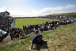 Faroe Islands 0 Scotland 2, 06/06/2007. European Championship Qualifier. A Scottish fan watching the action from the rocky bank behind the goal as the Faroe Islands take on Scotland in a Euro 2008 group B qualifying match at the Svangaskard stadium in Toftir. The visitors won the match by 2 goals to nil to stay in contention for a place at the European football championships which were to be held in Switzerland and Austria in the Summer of 2008. It was the first time Scotland had won in the Faroes, the previous two matches ended in draws. Photo by Colin McPherson.