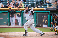 Guillermo Quiroz (6) of the Sacramento River Cats at bat against the Salt Lake Bees in Pacific Coast League action at Smith's Ballpark on April 20, 2015 in Salt Lake City, Utah.  (Stephen Smith/Four Seam Images)