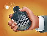 Illustrative image of hand holding bomb representing stock market crisis