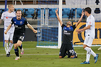 SAN JOSE, CA - NOVEMBER 4: Florian Jungwirth #23 and Judson #93 f the San Jose Earthquakes celebrate during a game between Los Angeles FC and San Jose Earthquakes at Earthquakes Stadium on November 4, 2020 in San Jose, California.