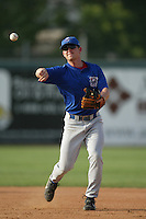 Jason Moore of the Stockton Ports takes infield before a game against the Inland Empire 66ers at Staters Bros Stadium on June 5, 2003 in San Bernardino, California. (Larry Goren/Four Seam Images)
