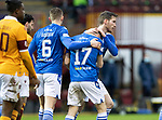 Motherwell v St Johnstone…20.02.21   Fir Park   SPFL<br />Guy Melamed celebrates his penalty with Jamie McCart and Liam Gordon<br />Picture by Graeme Hart.<br />Copyright Perthshire Picture Agency<br />Tel: 01738 623350  Mobile: 07990 594431