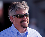 March 2010:  Trainer Steven Asmussen reacts during the Fair Grounds Oaks at the Fair Grounds in New Orleans, La.