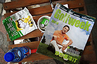 CHINA. Golfing magazines lie in the driving range of the Huatang International Golf Club in Beijing. 2009