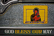 Photos of Jesus and Mother Mary and other religious Catholic messages are seen adorned on a Jeepney in Metro Manila in the Philippines. Photo: Sanjit Das