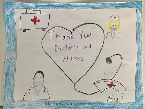"""""""Thank You Doctors and Nurses"""" Drawing by Atley Christensen, Grade 4, Yarmouth, ME, USA"""