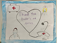 """Thank You Doctors and Nurses"" Drawing by Atley Christensen, Grade 4, Yarmouth, ME, USA"