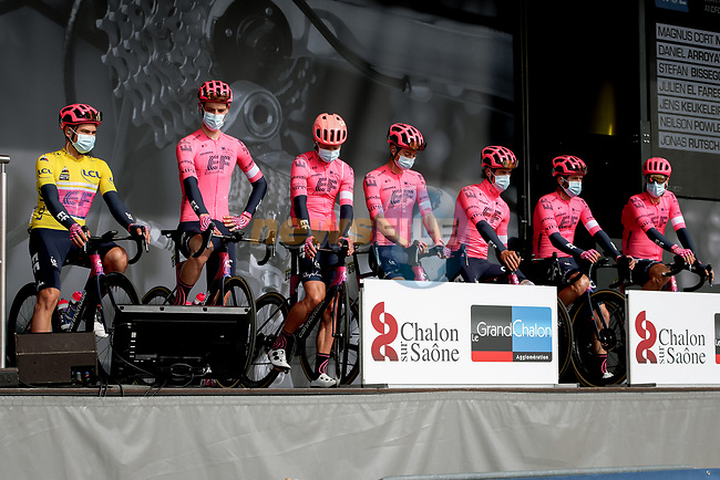 EF Education-Nippo at sign on before Stage 4 of Paris-Nice 2021, running 187.5km from Chalon-sur-Saone to Chiroubles, France. 10th March 2021.<br /> Picture: ASO/Fabien Boukla | Cyclefile<br /> <br /> All photos usage must carry mandatory copyright credit (© Cyclefile | ASO/Fabien Boukla)