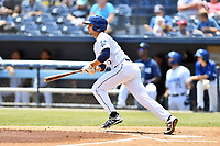 Asheville Tourists second baseman Terrin Vavra (6) swings at a pitch during a game against the West Virginia Power at McCormick Field on June 2, 2019 in Asheville, North Carolina. The  Power defeated the Tourists 5-4. (Tony Farlow/Four Seam Images)