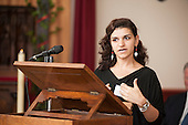 Gohar Avanesjan, Literacy Co-ordinator, Hampden Gurney CE Primary School, speaks at Tyburn Convent.  Restoration of the Tyburn Tree Plaque at the junction of Edgware Road and Marble Arch, London.