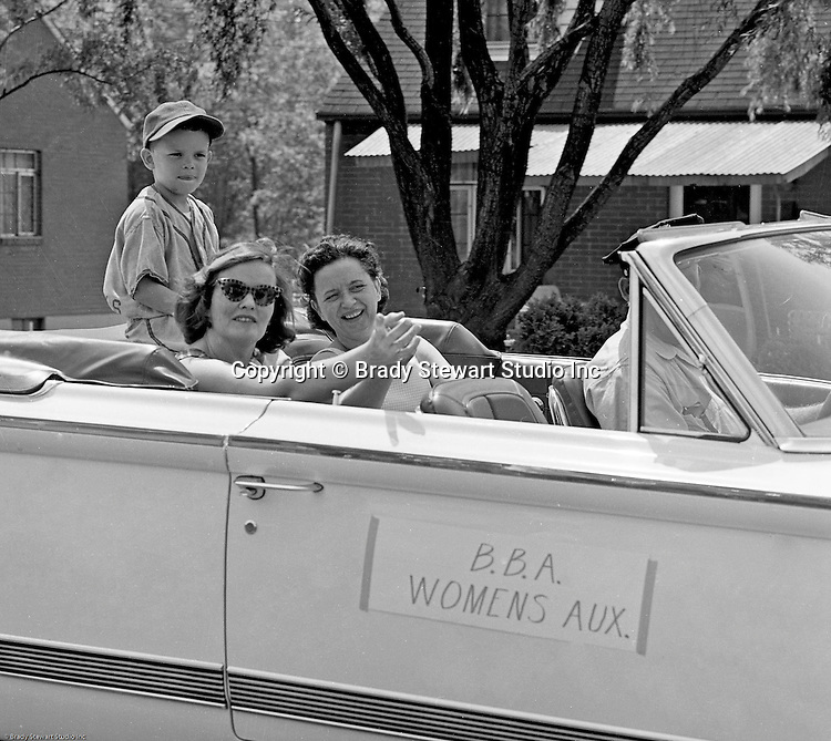 Bethel Park PA: View of members of the Bethel Baseball Association Women's Auxiliary participating in the Annual BBA Parade.  Riders include; Marge Westhoff, Marion Streiner and Craig Streiner
