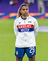ORLANDO, FL - JANUARY 22: Catarina Macario #29 of the USWNT stands during introductions before a game between Colombia and USWNT at Exploria stadium on January 22, 2021 in Orlando, Florida.