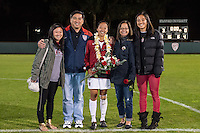 STANFORD, CA - October 21, 2012: Rachel Quon with her family during the Senior Day celebration after the Stanford vs Washington women's soccer match in Stanford, California.  Stanford won 3-0.