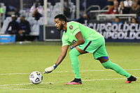 KANSAS CITY, KS - JULY 15: Meslien Gilles #23 of Martinique rolls out the ball during a game between Martinique and USMNT at Children's Mercy Park on July 15, 2021 in Kansas City, Kansas.