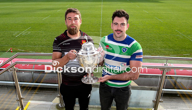 Monday 11th November 2019<br /> <br /> Pictured L-R are Carrickfergus RFC Captain Johnny Sheriff and Grosvenor RFC Captain Andrew Kelly pictured at the Semi-Final draw of this seasons MMW Legal Ulster Junior Cup which was held at Kingspan Stadium, Ravenhill Park, Belfast, Northern Ireland. Photo credit - John Dickson DICKSONDIGITAL