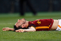 Calcio, Serie A: Roma vs Sampdoria. Roma, stadio Olimpico, 7 febbraio 2016.<br /> Roma's Alessandro Florenzi lies on the pitch during the Italian Serie A football match between Roma and Sampdoria at Rome's Olympic stadium, 7 January 2016.<br /> UPDATE IMAGES PRESS/Riccardo De Luca