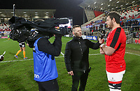 Saturday 22nd February 2020 | Ulster vs Cheetahs<br /> <br /> Paul Marshall interviews Marcell Coetzee during the PRO14 Round 12 clash between Ulster and the Cheetahs at Kingspan Stadium, Ravenhill Park, Belfast, Northern Ireland. Photo by John Dickson / DICKSONDIGITAL