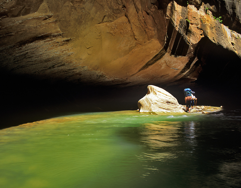 Backpackers in the Narrows of Zion National Park, Utah.