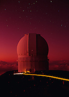 Canada-France-Hawaii Telescope at sunset, Mauna Kea Observatory, Hawaii.