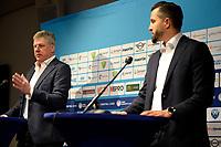 25-05-2021: Basketbal: Presentatie Trainer Donar: Groningen, Matthew Otten met manager technische zaken Martin de Vries (L)