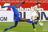 Sevilla FC' Suso Fernandez (r) and Getafe CF's Allan Nyom during La Liga match. February 6,2021. (ALTERPHOTOS/Acero)<br /> Liga Spagna 2020/2021 <br /> Sevilla FC Vs Getafe <br /> Photo Acero/Alterphotos / Insidefoto <br /> ITALY ONLY