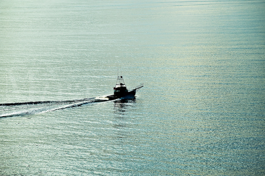 Fishing boat in ocean water, Massachusetts, USA