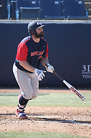 Jake Vieth (22) of the Gonzaga Bulldogs bats against the Cal State Fullerton Titans at Goodwin Field on March 12, 2017 in Fullerton, California. Fullerton defeated Gonzaga, 3-2. (Larry Goren/Four Seam Images)