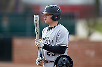 Spencer Packard (25) of the Campbell Camels at bat against the High Point Panthers at Williard Stadium on March 16, 2019 in  Winston-Salem, North Carolina. The Camels defeated the Panthers 13-8. (Brian Westerholt/Four Seam Images)