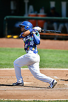 Gersel Pitre (13) of the Ogden Raptors at bat against the Helena Brewers in Pioneer League action at Lindquist Field on July 16, 2016 in Ogden, Utah. Ogden defeated Helena 5-4.   (Stephen Smith/Four Seam Images)