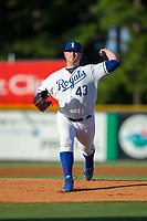 Burlington Royals starting pitcher J.C. Cloney (43) in action against the Danville Braves at Burlington Athletic Stadium on August 12, 2017 in Burlington, North Carolina.  The Braves defeated the Royals 5-3.  (Brian Westerholt/Four Seam Images)