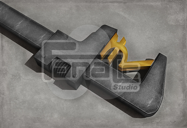Illustrative image of wrench repairing rupee sign