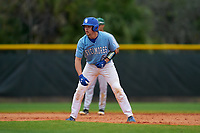 Indiana State Sycamores Grant Magill (5) leads off during a game against the Dartmouth Big Green on February 21, 2020 at North Charlotte Regional Park in Port Charlotte, Florida.  Indiana State defeated Dartmouth 1-0.  (Mike Janes/Four Seam Images)