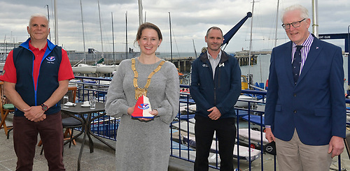 D2D 2021 - (from left) Adam Winkelmann, Chairman of  the Dun Laoghaire to Dingle Race, Councillor Una Power, the Cathaoirleach of Dún Laoghaire-Rathdown County Council, Tim Ryan Harbour Dun Laoghaire Harbour Operations Manager and Martin McCarthy Commodore of the National Yacht Club