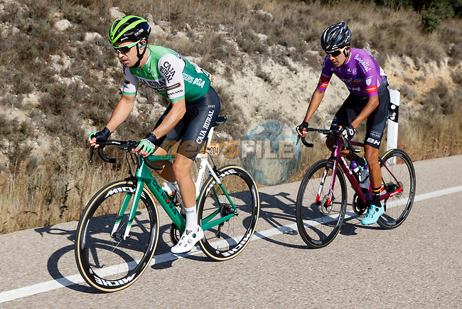 The 2 man breakaway of Juan Felipe Osorio (ESP) Burgos-BH and Aritz Bagues (ESP) Caja Rural-Seguros RGA during Stage 9 of the Vuelta Espana 2020 running 157.7km from B.M. Cid Campeador. Castrillo del Val to Aguilar de Campo, Spain. 29th October 2020.   <br /> Picture: Luis Angel Gomez/PhotoSportGomez | Cyclefile<br /> <br /> All photos usage must carry mandatory copyright credit (© Cyclefile | Luis Angel Gomez/PhotoSportGomez)