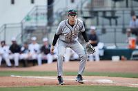 Greensboro Grasshoppers first baseman Will Matthiessen (46) on defense against the Winston-Salem Dash at Truist Stadium on June 15, 2021 in Winston-Salem, North Carolina. (Brian Westerholt/Four Seam Images)