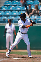 San Jose Giants first baseman Frandy De La Rosa (43) at bat during a California League game against the Lancaster JetHawks at San Jose Municipal Stadium on May 13, 2018 in San Jose, California. San Jose defeated Lancaster 3-0. (Zachary Lucy/Four Seam Images)