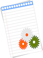 Blank notepad page with flowers with Indian flags colors.Background.Vector illustration.<br /> <br /> Suitable for Indian Independence day, Republic day or other patriotic themes.<br /> <br /> This image is also available as scalable EPS and PNG format(with transparent background).