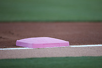 """The Charlotte Knights painted the bases pink for their """"Pink Knights"""" game against the Gwinnett Stripers at Truist Field on July 17, 2021 in Charlotte, North Carolina. (Brian Westerholt/Four Seam Images)"""