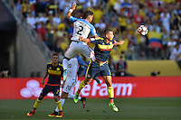 Santa Clara, CA - Friday June 03, 2016: United States defender DeAndre Yedlin (2) goes up for a header with Colombia midfielder Edwin Cardona (8) during a Copa America Centenario Group A match between United States (USA) and Colombia (COL) at Levi's Stadium.