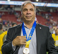Santa Clara, CA - Wednesday July 26, 2017: Bruce Arena and his U.S. Men's national team celebrate winning the 2017 Gold Cup Championship by defeating Jamaica 2-1 in the Final during the 2017 Gold Cup Final Championship match between the men's national teams of the United States (USA) and Jamaica (JAM) at Levi's Stadium.