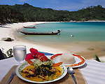 Thailand, island Ko Pha Ngan, Thong Nai Pan Noi bay and beach, Thai Curry with rice