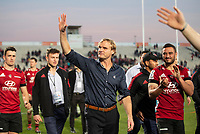 Crusaders coach Scott Robertso celebrates winning the 2020 Super Rugby match between the Crusaders and Highlanders at Orangetheory Stadium in Christchurch, New Zealand on Saturday, 9 August 2020. Photo: Joe Johnson / lintottphoto.co.nz