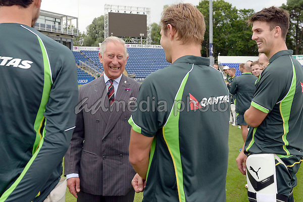 06 July 2015 - Cardiff, Wales - Prince Charles Prince of Wales meets Australian cricketers (left to right) Peter Siddle, Ryan Harris and David Warner during a visit to The SSE SWALEC Stadium. Photo Credit: Alpha Press/AdMedia
