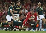 Springbok flanker Francois Louw tackles Wales flanker Dan Lydiate.<br /> <br /> 2013 Dove Men Series<br /> Wales v South Africa<br /> Millennium Stadium<br /> 09.11.13<br /> ©Steve Pope-Sportingwales