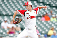 Pitcher Cole Irvin #24 of Servite High School in Anaheim, California delivers a pitch during the Under Armour All-American Game at Wrigley Field on August 13, 2011 in Chicago, Illinois.  (Mike Janes/Four Seam Images)