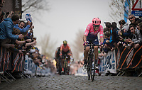 Alberto Bettiol (ITA/EF Education First) attacks up the infamous Oude Kwaremont and will maintain his lead until the finish line to win the 103rd Ronde van Vlaanderen 2019<br /> One day race from Antwerp to Oudenaarde (BEL/270km)<br /> <br /> ©kramon